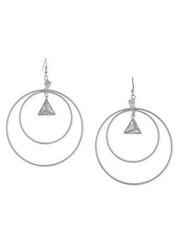 Double Hoop Encolsed Charm French Wire Earrings - 1135062819681