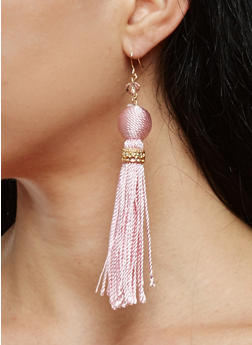 Thread Wrapped Bead Tassel Drop Earrings - 1135062920056