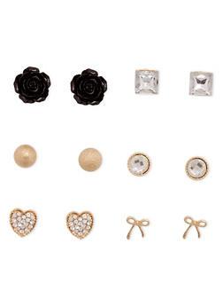 Set Of 6 Assorted Stud Earrings - 1135062920512