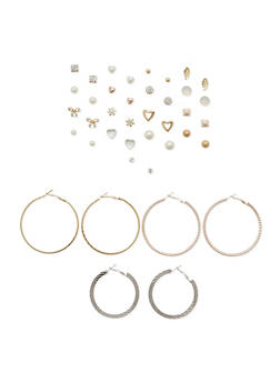 Assortment of 20 Hoop and Stud Earrings - 1135062920718