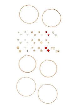 Set of 20 Assorted Hoop and Stud Earrings - 1135062920744