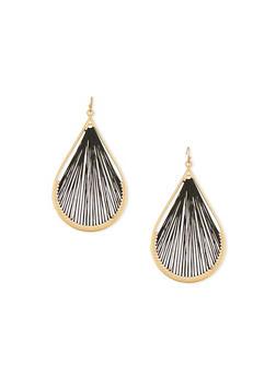 Threaded Tear Drop French Wire Earrings - 1135062920990