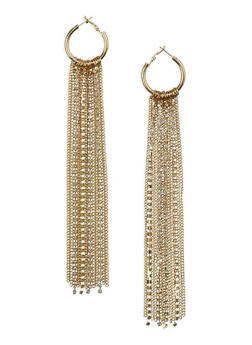 Rhinestone Chain Fringe Hoop Earrings - 1135062921507