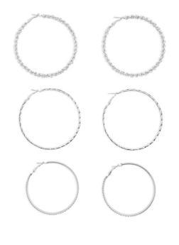 Trio of Textured Metallic Glitter Hoop Earrings - 1135062921768