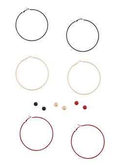 Set of Multi Color Hoop and Stud Earrings - 1135062921902