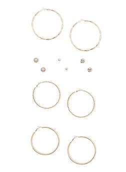 Set of 6 Rhinestone Stud and Multi Textured Hoop Earrings - 1135062922393
