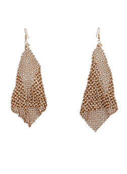 Rhinestone Mesh Drop Earrings - 1135062922749