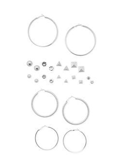 Set of 12 Assorted Hoop Pyramid Stud Earrings - 1135062923632