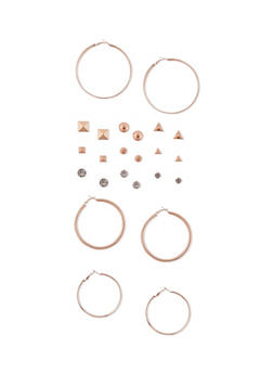 Set of 12 Assorted Hoop Pyramid Stud Earrings - 1135062923632