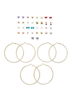 Set of 20 Etched Hoop and Assorted Ball Stud Earrings - 1135062924424