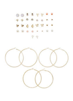 Set of 20 Multi Textured Hoop and Assorted Stud Earrings - 1135062924429