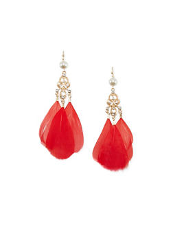 Pearl Studded Drop Earrings with Feathers - 1135062924561