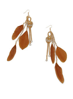 Knotted Rhinestone Drop Earring with Feathers - 1135062924566