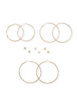 Set of 6 Assorted Stud and Etched Hoop Earrings - 1135062925093