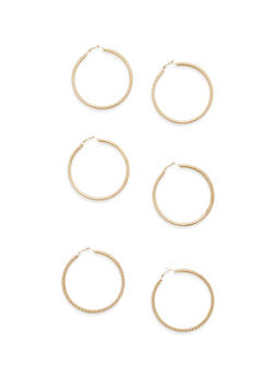 Set of 3 Assorted Tube Hoop Earrings - 1135062925140