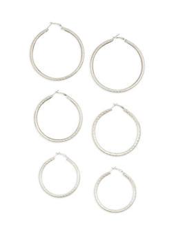 Metallic Hoop Earrings Trio - 1135062925176