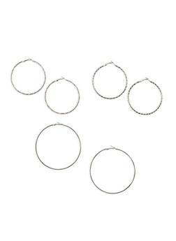 Skinny Hoop Earrings Trio - 1135062925295