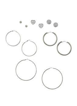 Rhinestone Stud and Large Hoop Earrings Set - 1135062925737