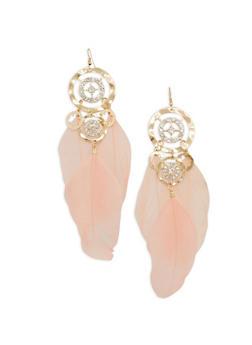 Rhinestone Feather Drop Earrings - 1135062926414