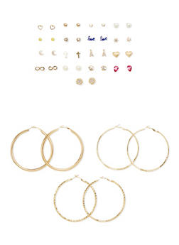 Set of 20 Assorted Hoop and Stud Earrings - 1135062926468