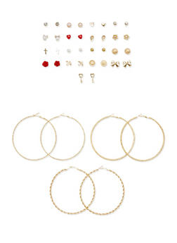 Set of 20 Assorted Stud and Textured Hoop Earrings - 1135062926470