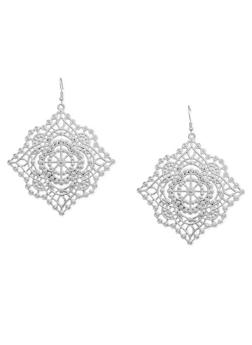 Square Webbed French Wire Earrings - 1135062926558