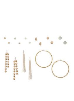 Set of 9 Drop Hoop and Stud Earrings - 1135062926760