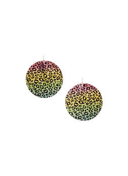 Round Rigged Leopard Print Disc Earrings - 1135062926942