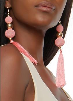 Beaded Mesh Tassel Earrings - 1135062927203
