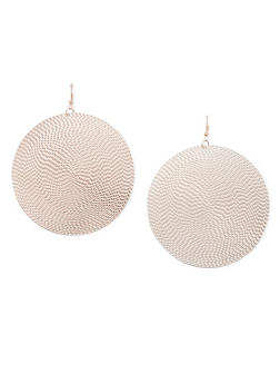 Textured Disc Earrings with French Wire Back - 1135062927407
