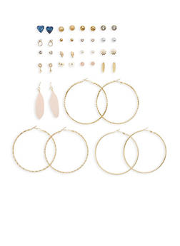 Set of 20 Textured Hoop and Assorted Stud Earrings - 1135062927500