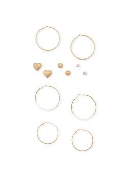 6 Assorted Stud and Hoop Earrings Set - 1135062927691