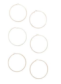 Set of 3 Extra Large Hoop Earrings - 1135062927750