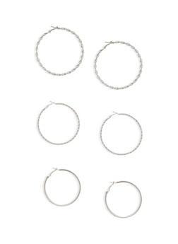 Set of 3 Twist and Rhinestone Hoop Earrings - 1135062927947