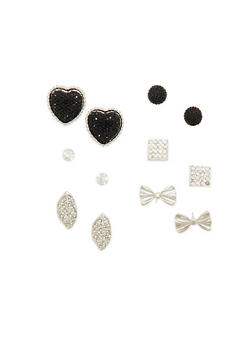 Assorted Stud Earrings with Rhinestone and Bow Details - 1135062928664