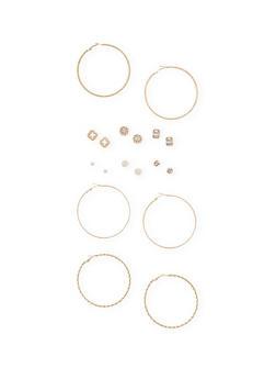 Twisted Hoop and Rhinestone Earring Set - 1135062929225