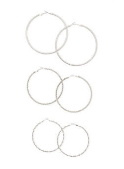 Set of 3 Multi Textured Earring Hoops - 1135062929836