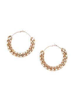 Chain Link Hoop Earrings - 1135067256157
