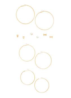Assorted Trio of Stud and Hoop Earrings - 1135069754174