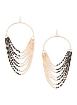 Half Hoop Multi Chain French Wire Earrings - 1135070431720