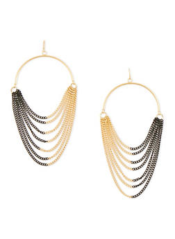 Half Hoop Multi Chain French Wire Earrings - 1135070431720