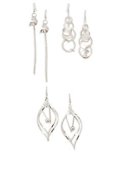 Trio of Metallic Glitter Drop Earrings - 1135071430192