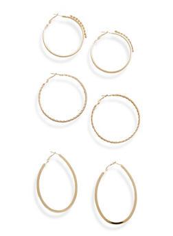 Set of 3 Assorted Hoop Earrings - 1135072693203