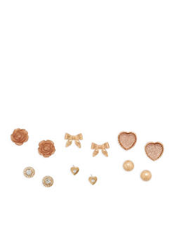 Set of 6 Rhinestone Metallic Stud Earrings - 1135072693610