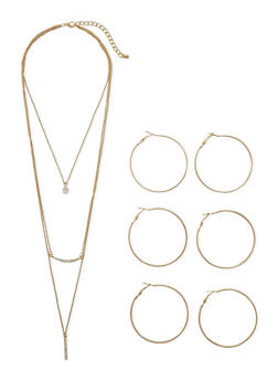 Trio of Hoop Earrings and Tiered Chain Necklace with Charms - 1135072694428