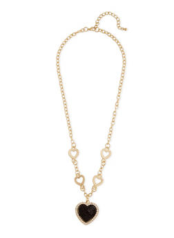Heart Chain with Rhinestone Heart Pendant Necklace - 1135072694735