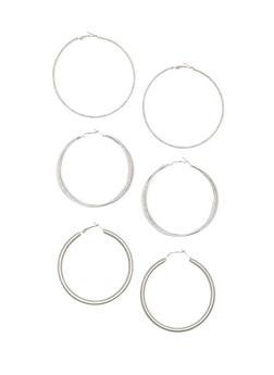Set of 3 Assorted Textured Hoop Earrings - 1135072694917
