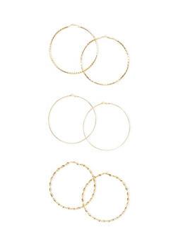 Multi Textured Hoop Earrings Set - 1135072695809