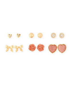 Set of 6 Assorted Rhinestone and Multi Textured Stud Earrings - 1135072696310