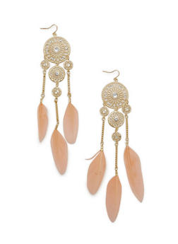 Dream Catcher Feather Drop Earrings - 1135072696460